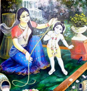 Krishna and Mother Yashoda / Wallpainting Krsna Balaram Mandir